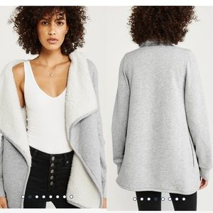 Abercrombie & Fitch Gray Sherpa open Cardigan